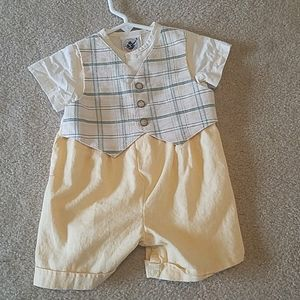 Baby boys one piece shorts outfit